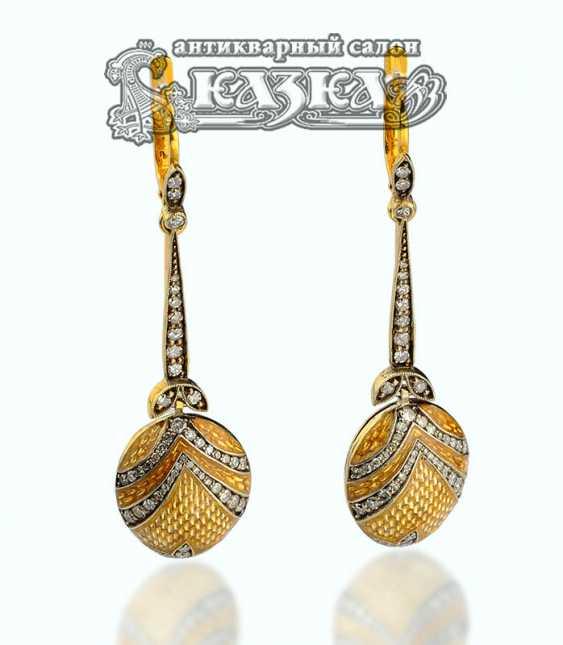Pendant earrings of gold guilloche enamel - photo 1