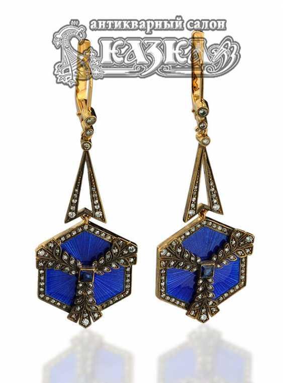 Ohrring-Anhänger aus Gold mit Saphir und Diamanten «Schneeflocken» - Foto 1