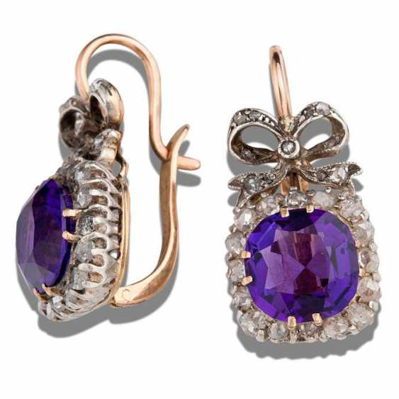 Earrings with natural amethysts - photo 1