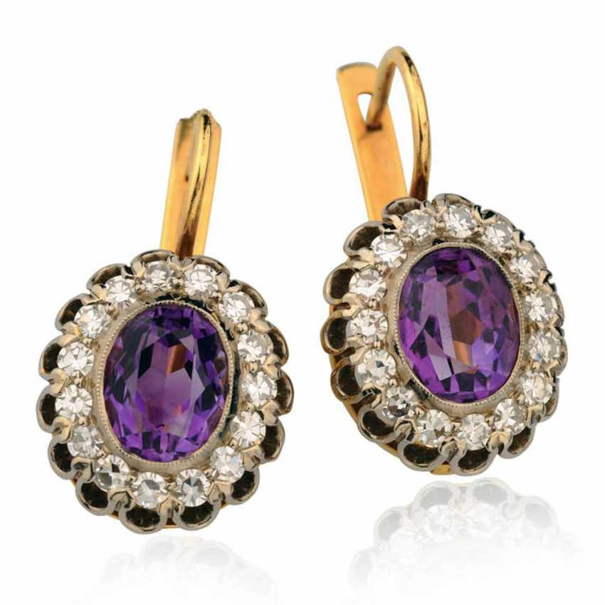 "Earrings in the form of ""Raspberry"" with amethysts - photo 1"