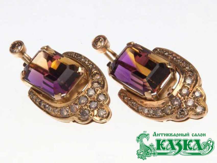 Комплект «Кольцо и серьги» с аметрином и коричневыми бриллиантами - фото 2