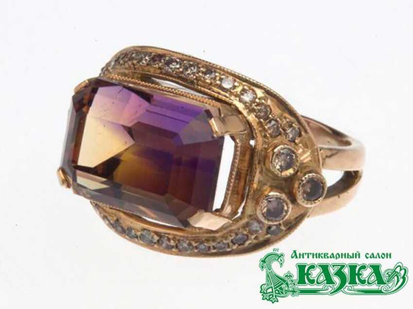 Комплект «Кольцо и серьги» с аметрином и коричневыми бриллиантами - фото 3