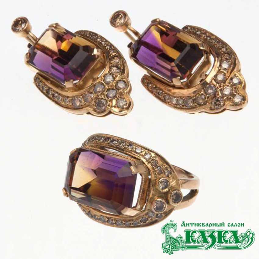 Комплект «Кольцо и серьги» с аметрином и коричневыми бриллиантами - фото 1