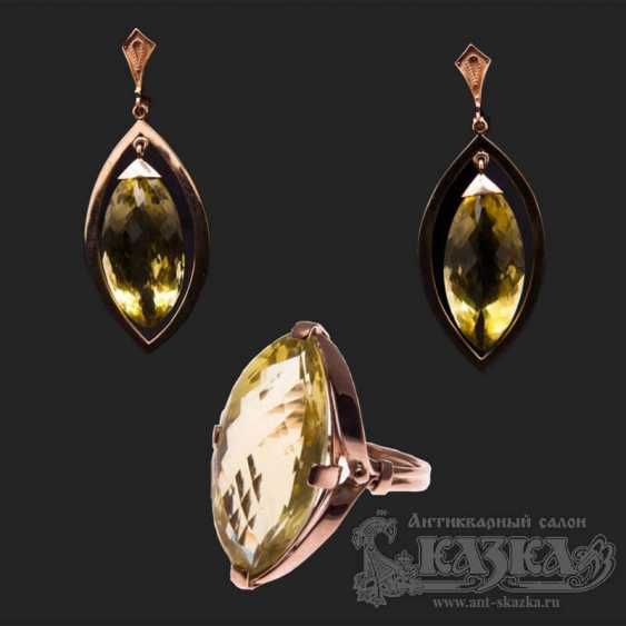 """Set the """"Ring and Earrings,"""" with natural citrines - photo 1"""