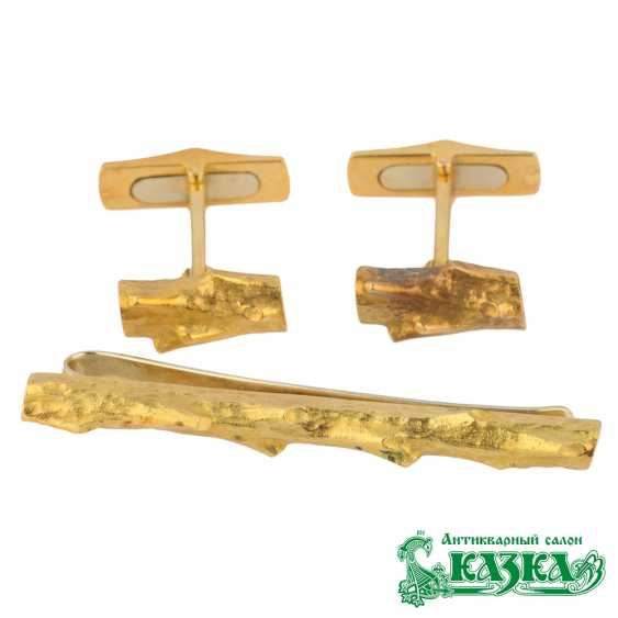 """Set cufflinks and tie clip """"piece of Wood"""" - photo 1"""
