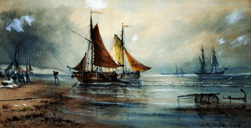 """Painting watercolor """"Shores of Denmark"""" - photo 1"""
