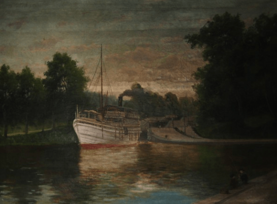 "Antique painting ""the Pier"" - photo 1"