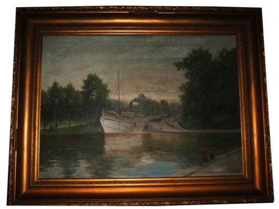 "Antique painting ""the Pier"" - photo 2"
