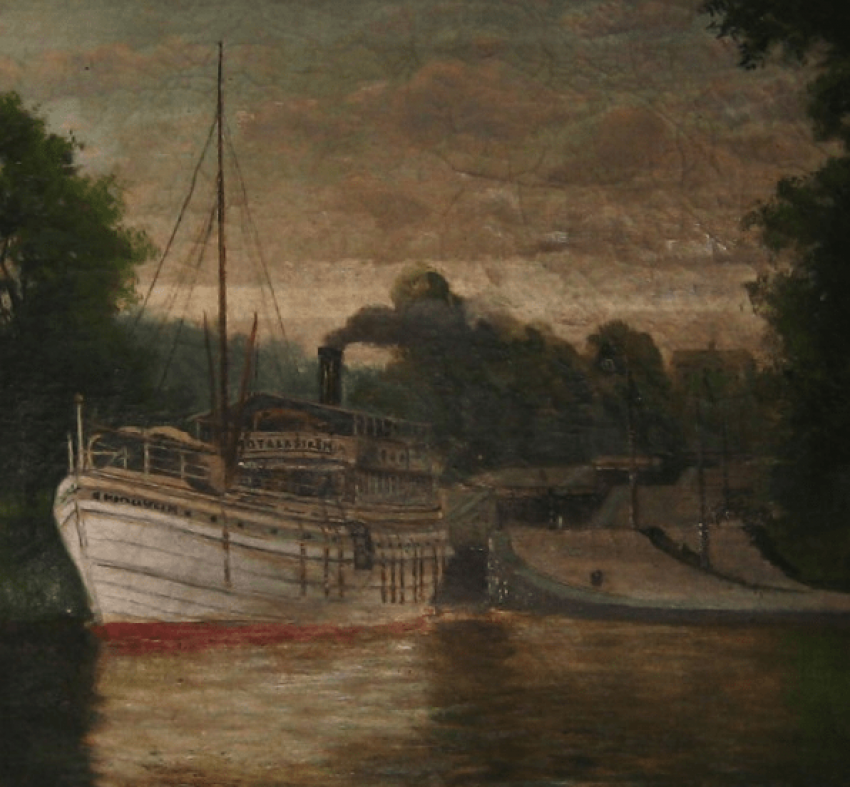 "Antique painting ""the Pier"" - photo 3"