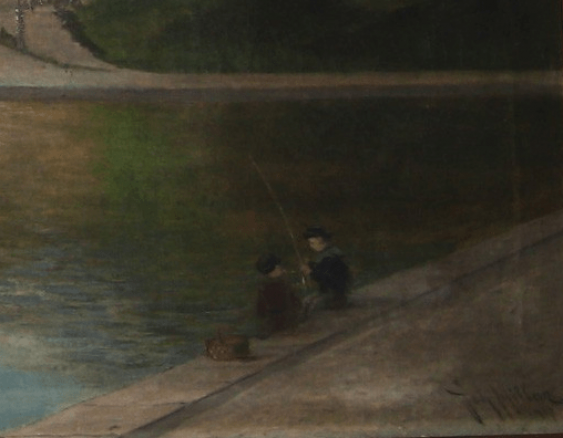 "Antique painting ""the Pier"" - photo 4"