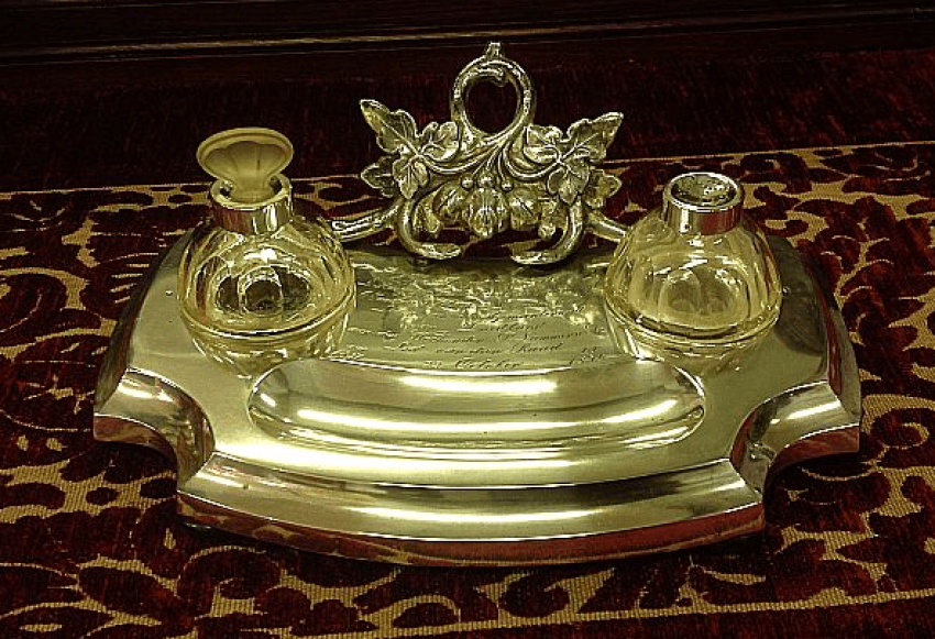 Silver inkwell.1872 . - photo 1