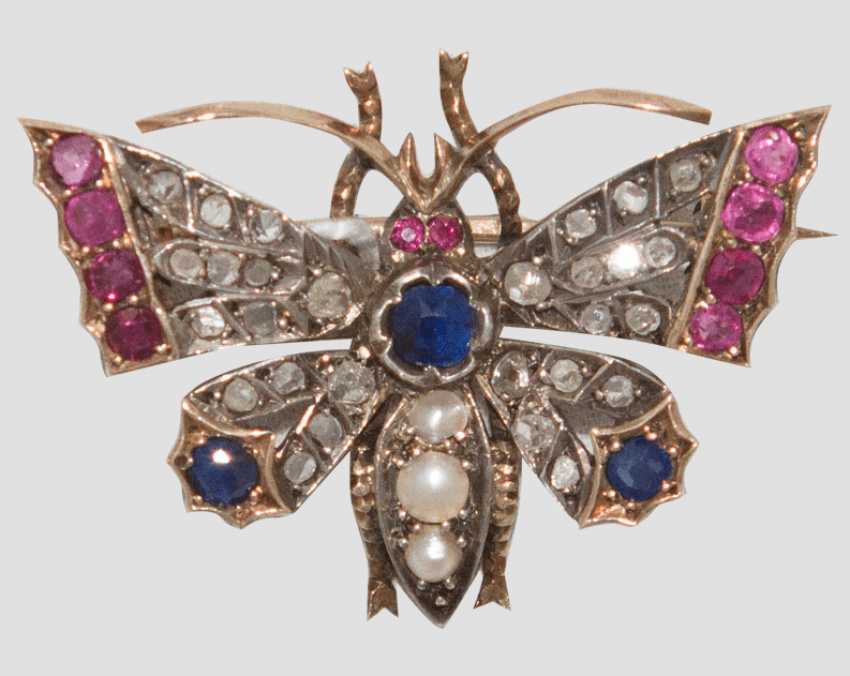 Brooch with diamonds rubies and sapphires - photo 1
