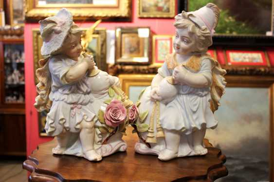 "Pair of figurines-vases ""Gnomes with a pipe"", end of XIX century - photo 1"