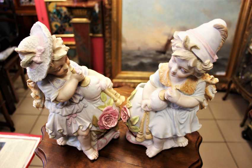 "Pair of figurines-vases ""Gnomes with a pipe"", end of XIX century - photo 4"