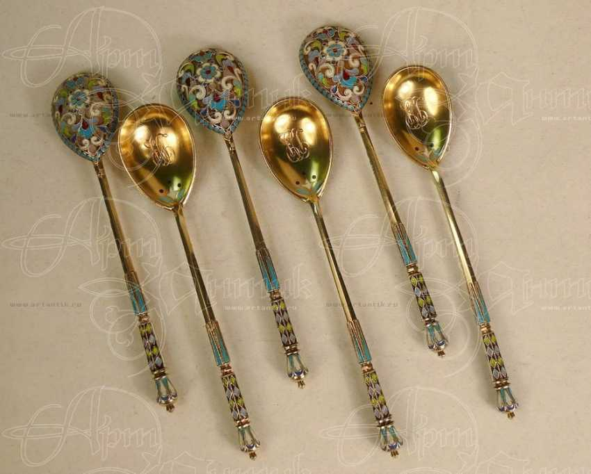 A set of spoons with double sided enamel - photo 1