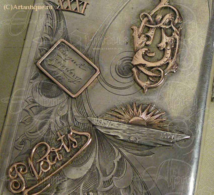 Cigarette case with gold lining - photo 2