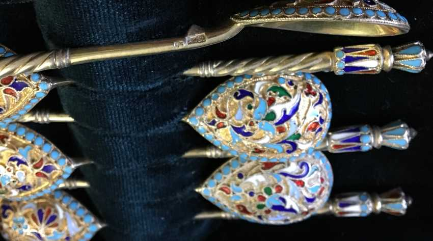 A set of silver spoons with enamel, XX century - photo 3