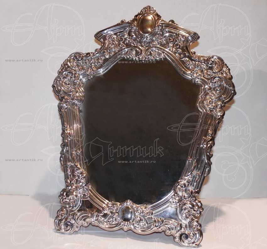Table mirror in a silver frame - photo 1