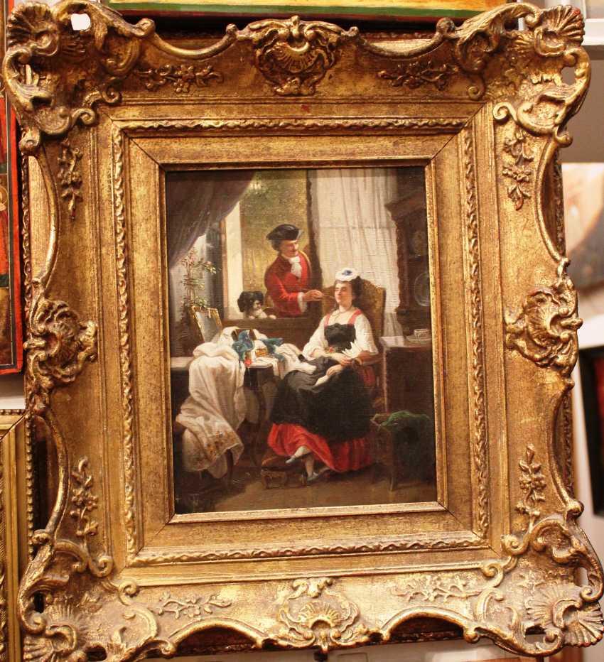 """The painting """"Awakening"""" Artist W. Trautschold (1815-1877). Germany. 1875. - photo 1"""