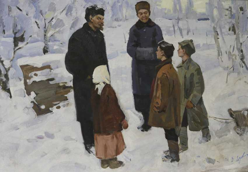 """Lenin and Krupskaya with children"", 1971, V. Lozovoy - photo 1"