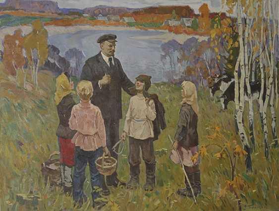 """""""Lenin and children"""". 1970, V. Pushkareva - photo 1"""