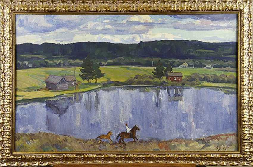 """Village pond"", I. Fadin, 1973 - photo 2"