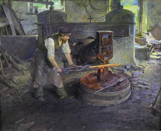 """""""In the smithy"""". August Hessl - photo 1"""