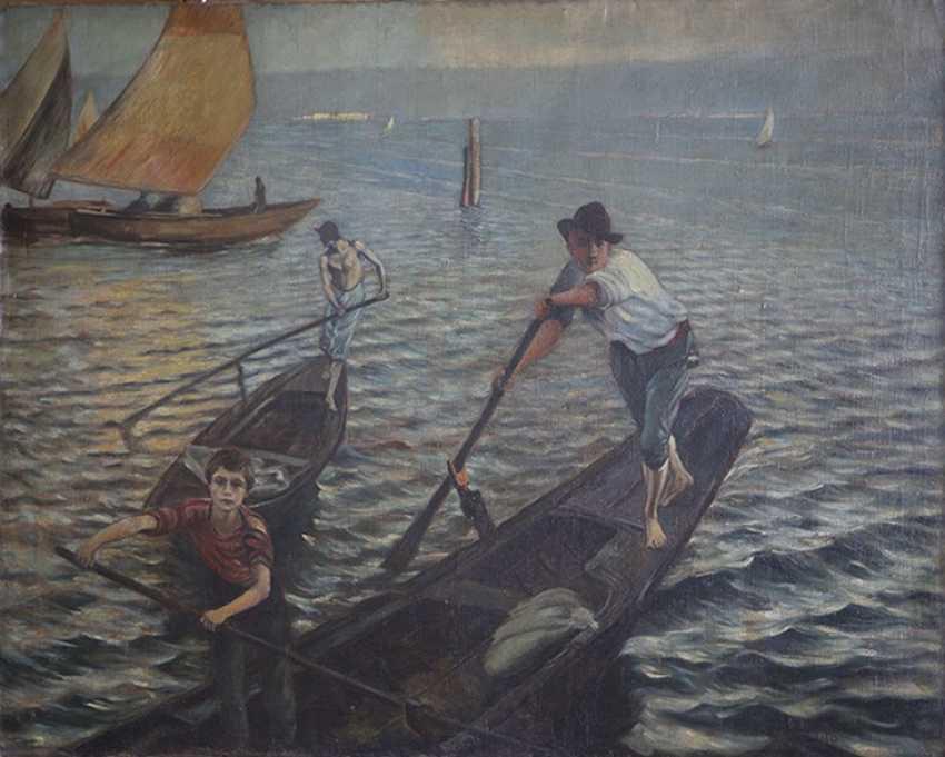 """Gondoliers à Venise"". Ettore Tito - photo 1"