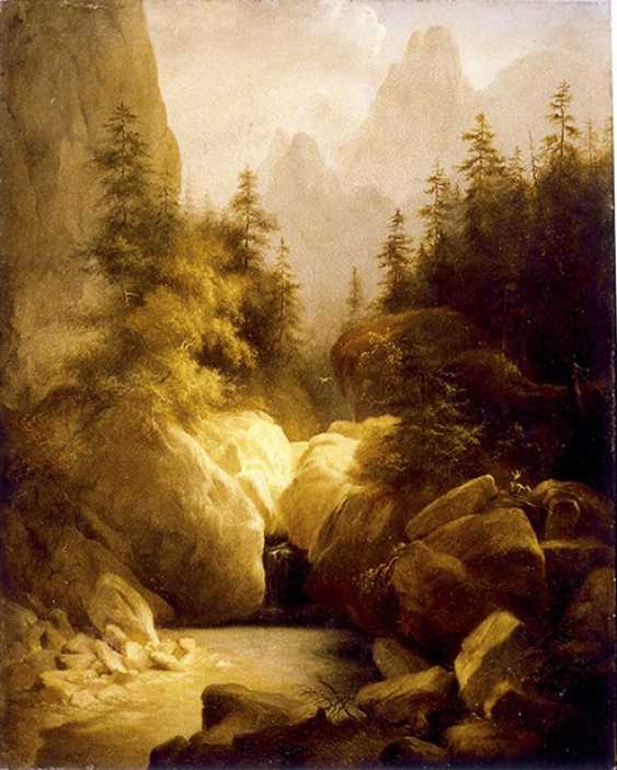 """Mountain landscape with waterfall"", the second third of the XIX century, Switzerland - photo 1"