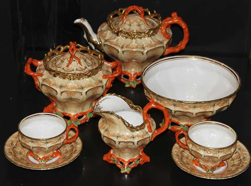 Tea set for 6 persons with a coral decor. Z-d Br. Kornilov - photo 1