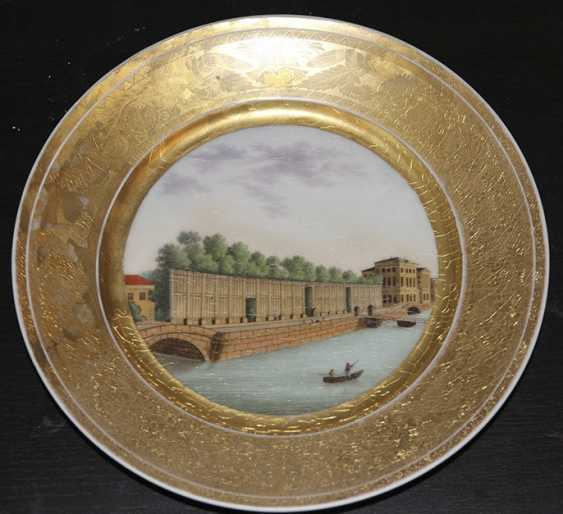"""2 plates """"View of the Summer garden in St. Petersburg"""" and """"Kronstadt"""", the Popov Factory - photo 3"""
