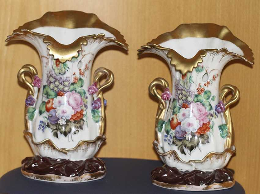 This pair of vases with floral decoration. Russia, mid XIX century - photo 1