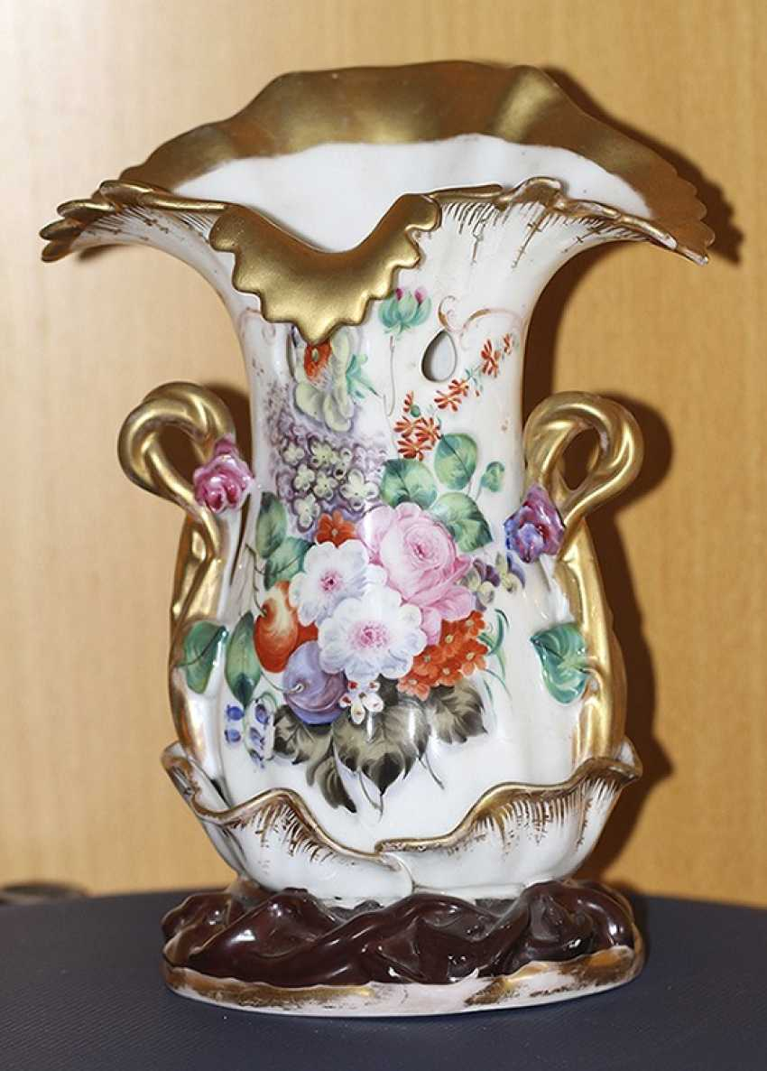 This pair of vases with floral decoration. Russia, mid XIX century - photo 2