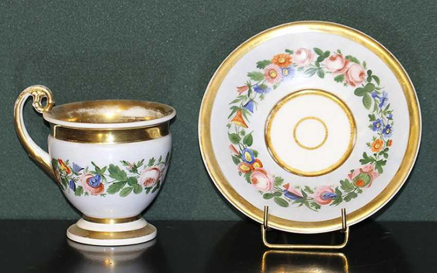 Cup and saucer with floral decoration. Russia, no postage. - photo 1