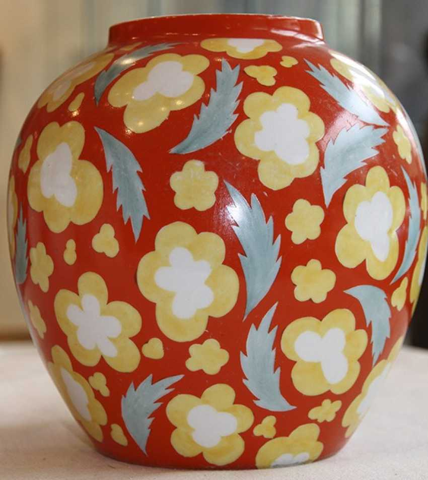 Vase with red flowers, Dulevo, 1966, P. Leonov - photo 1