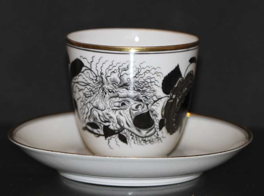 """Cup and saucer """"rose and the mask"""" (Demon), S. Chekhonin - photo 1"""
