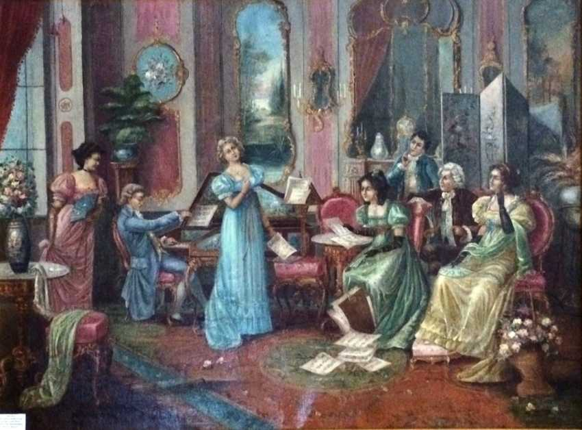 """The painting """"Musical evening"""". Doret L. Sweden, K. XVIII - early XIX centuries. - photo 1"""