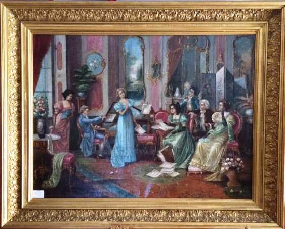 """The painting """"Musical evening"""". Doret L. Sweden, K. XVIII - early XIX centuries. - photo 2"""