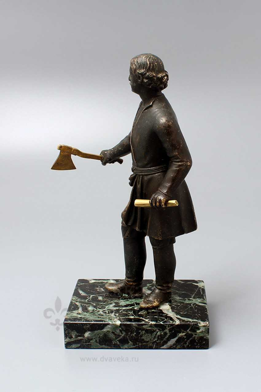 Antique bronze figurine on a marble stand Peter I, Russia, 19th century - photo 3