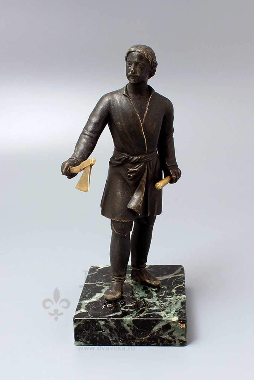 Antique bronze figurine on a marble stand Peter I, Russia, 19th century - photo 1