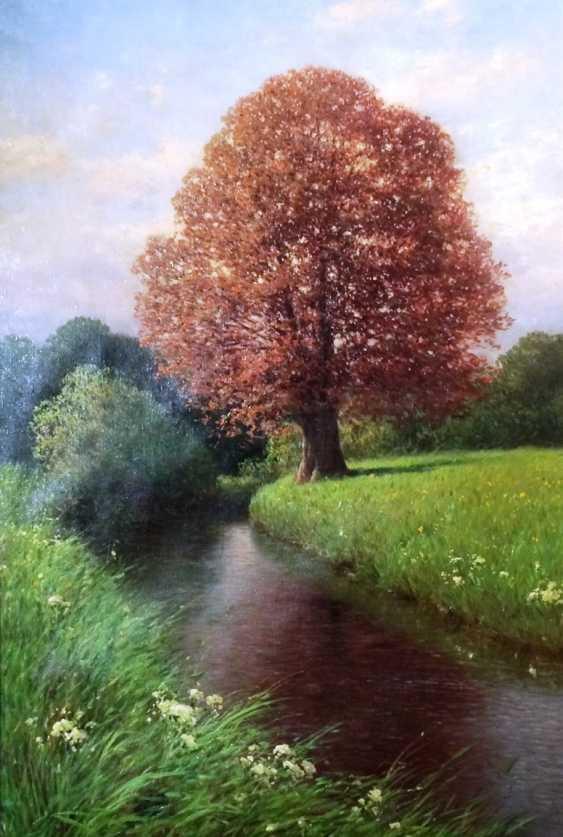"Картина ""Дуб на берегу реки"". Кензлер Карл. Германия, 1917. - фото 1"