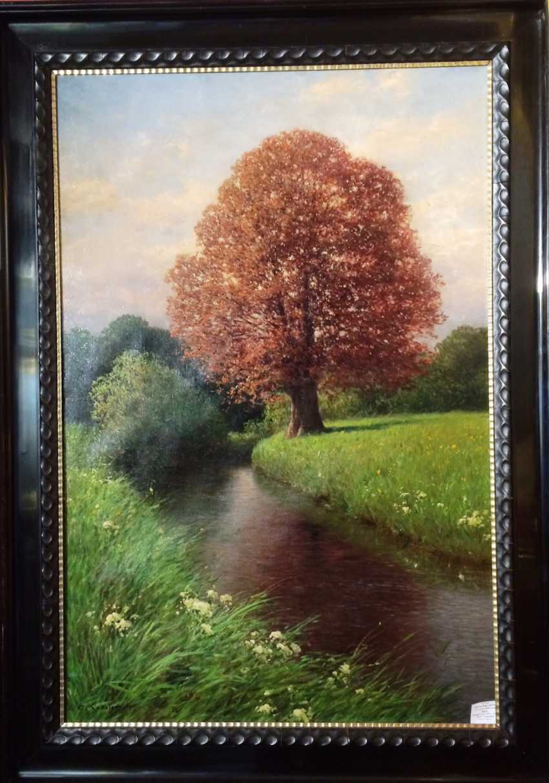 "Картина ""Дуб на берегу реки"". Кензлер Карл. Германия, 1917. - фото 2"