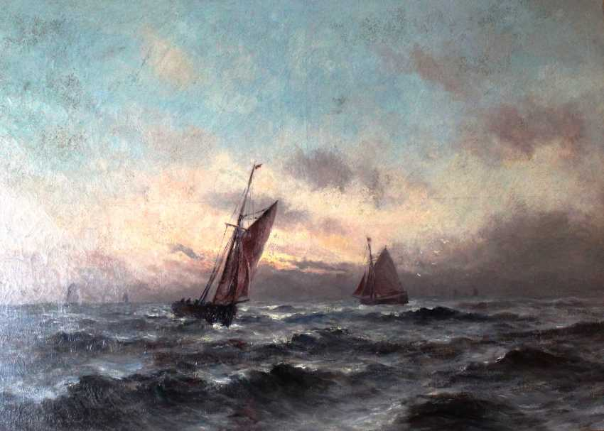 """The painting """"Sailing on the stormy sea"""" Romain Steppe (1859-1927). Sweden. - photo 1"""