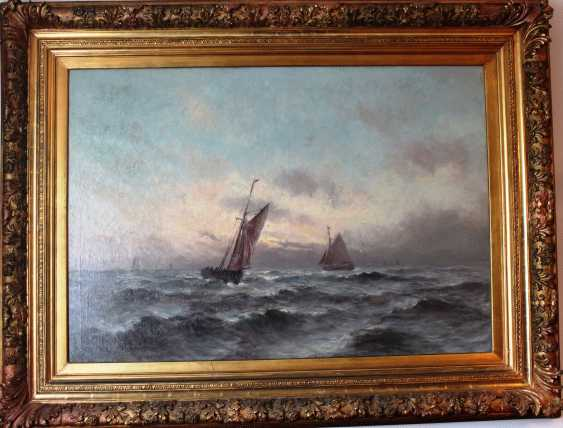 """The painting """"Sailing on the stormy sea"""" Romain Steppe (1859-1927). Sweden. - photo 2"""