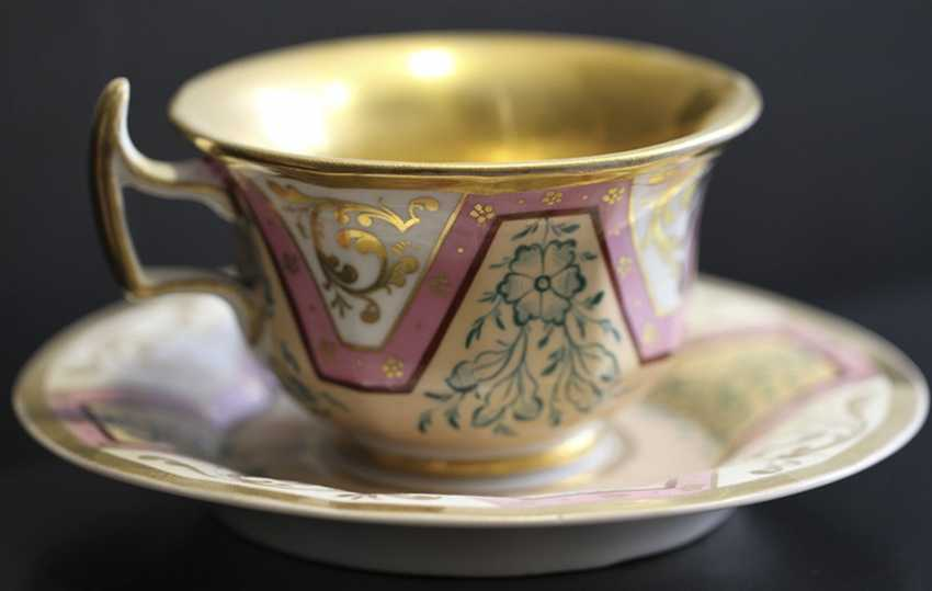 Cup and saucer with ornament, KPM, mid XIX century - photo 1