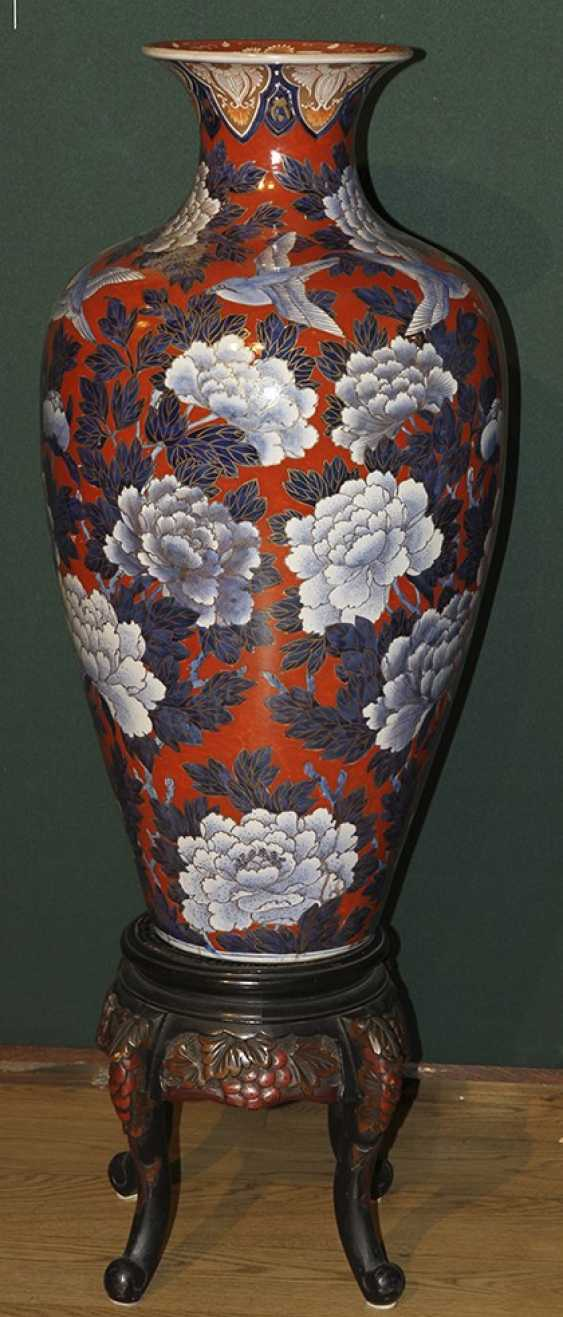 Vase with flowers and birds on a stand. Japan - photo 1