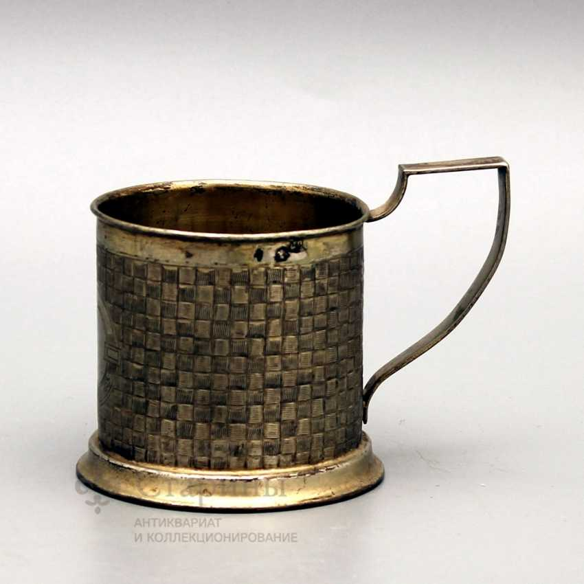 Silver holder with imitation of braiding from birch bark, Russia, 1890, 84 sample - photo 1
