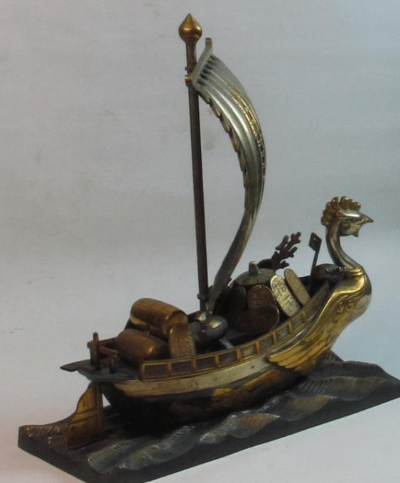 корабль сокровищ Япония, бронза - фото 2