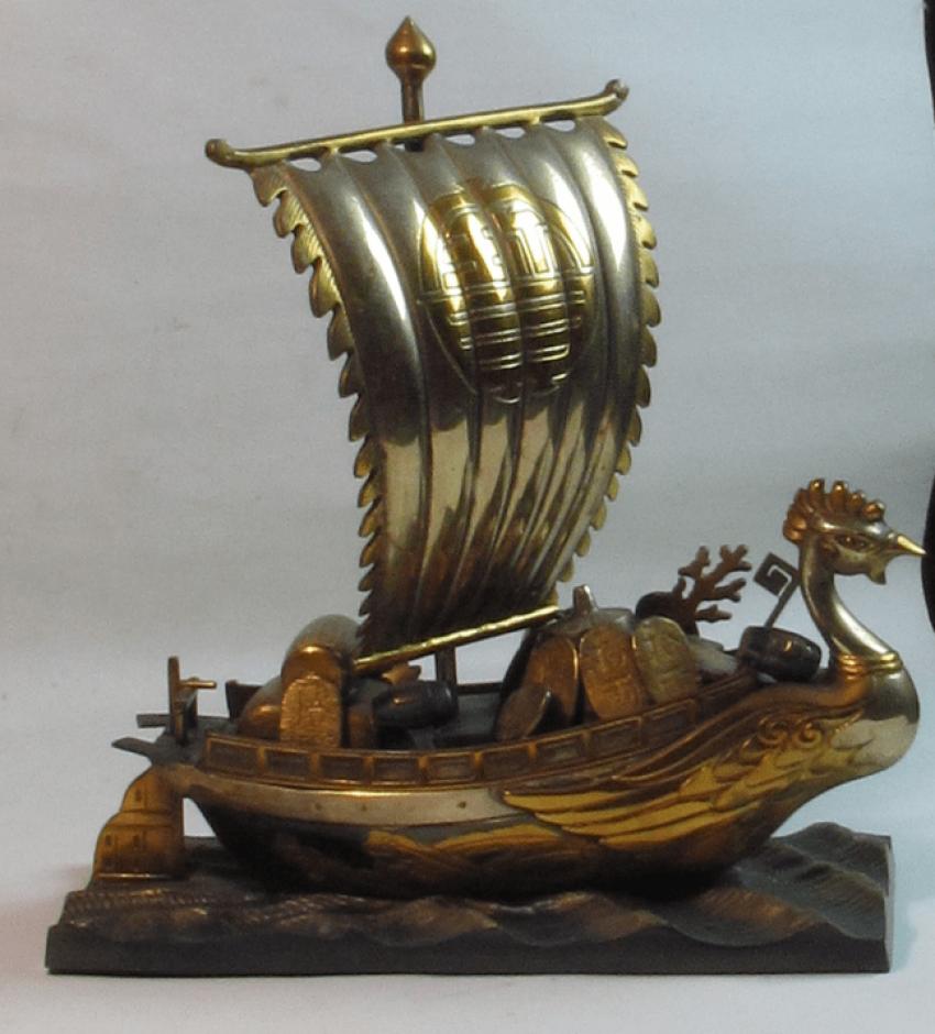 корабль сокровищ Япония, бронза - фото 1