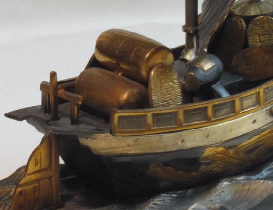 корабль сокровищ Япония, бронза - фото 3